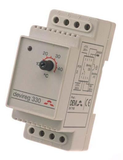 DEVIreg™ D-330 (-10°C-+10°C) на шину DIN, с датчиком на проводе, 16А