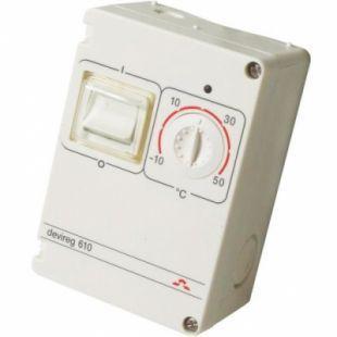 DEVIreg™ D-610 (-10°C-+50°C) накладной, с датчиком на проводе, IP44, 10А